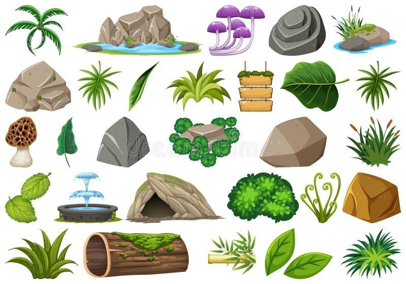 Stellen Sie von lokalisiertem Gegenstandthema - Natur ein stock abbildung