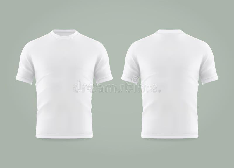 Stellen Sie von lokalisiertem weißem T-Shirt oder vom realistischen Kleid ein vektor abbildung