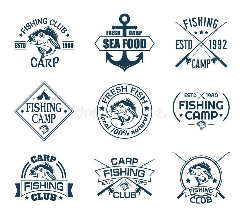 Stellen Sie von lokalisierten Ikonen mit Fischen für Fischerverein ein lizenzfreie abbildung