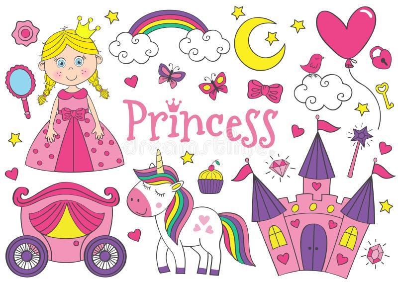 Stellen Sie von lokalisierter netter Prinzessin und von Gestaltungselementen ein stock abbildung