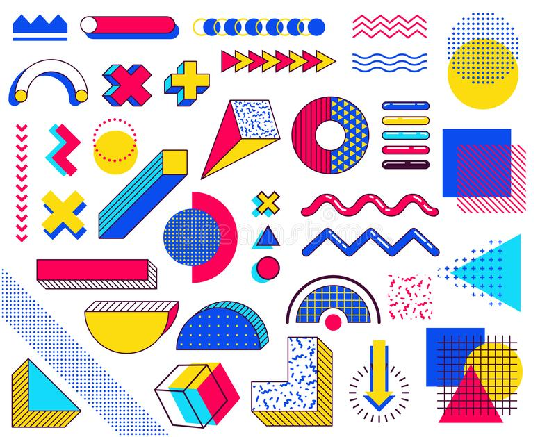 Stellen Sie von Memphis-Gestaltungselementen ein Abstrakte Elemente der Tendenzen 90s mit mehrfarbigen einfachen geometrischen Fo vektor abbildung