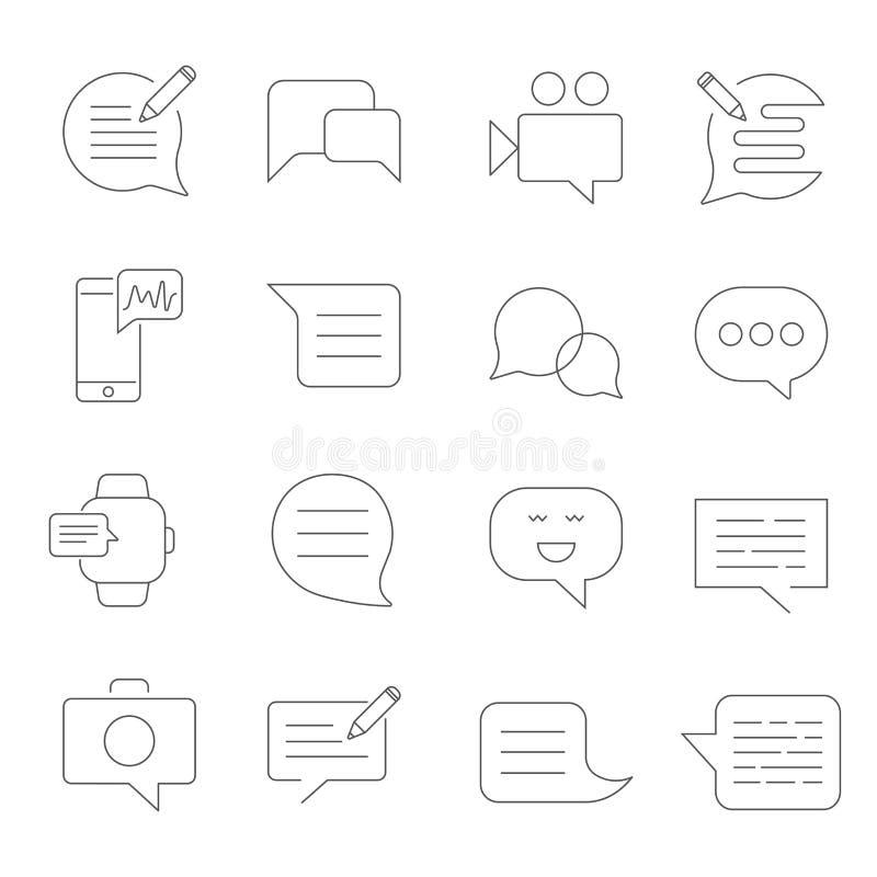 Stellen Sie von Mitteilungs-in Verbindung stehender Vektor-Linie Ikonen ein SMS, Schw?tzchen, Mitteilung, Rede, Video mms und and stock abbildung