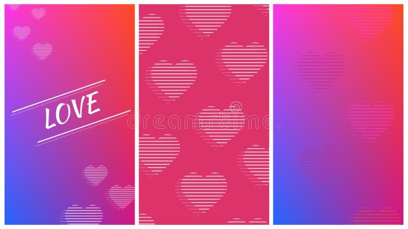 Stellen Sie von 3 modischen Valentinstagfahnen-Plakatbroschüren ein vektor abbildung