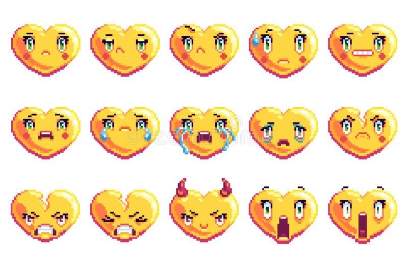 Stellen Sie von 15 negativen Gefühlen ein, die Herz Pixelkunst emoji in der goldenen Farbe formte lizenzfreie stockfotografie