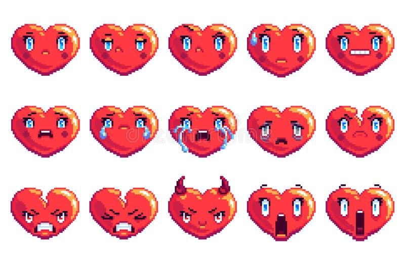 Stellen Sie von 15 negativen Gefühlen ein, die Herz Pixelkunst emoji in der goldenen Farbe formte lizenzfreie stockfotos