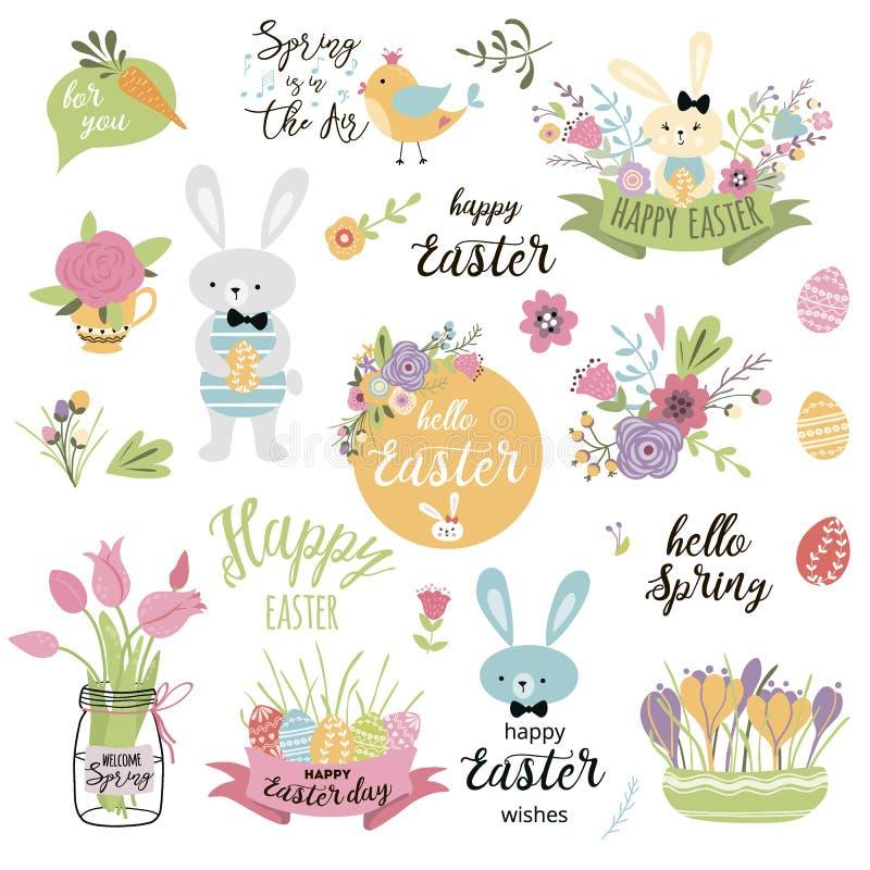 Stellen Sie von nette Ostern-Karikaturelemente Osterhasen-Eier dekorative Blumen lokalisiertem Vektor-Illustrationstext fröhliche vektor abbildung