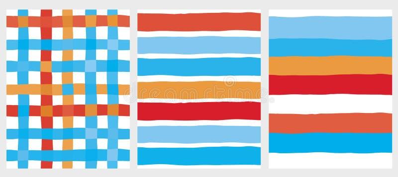 Stellen Sie von 3 netten Streifen und von Gitter-Vektor-Mustern ein lizenzfreie abbildung