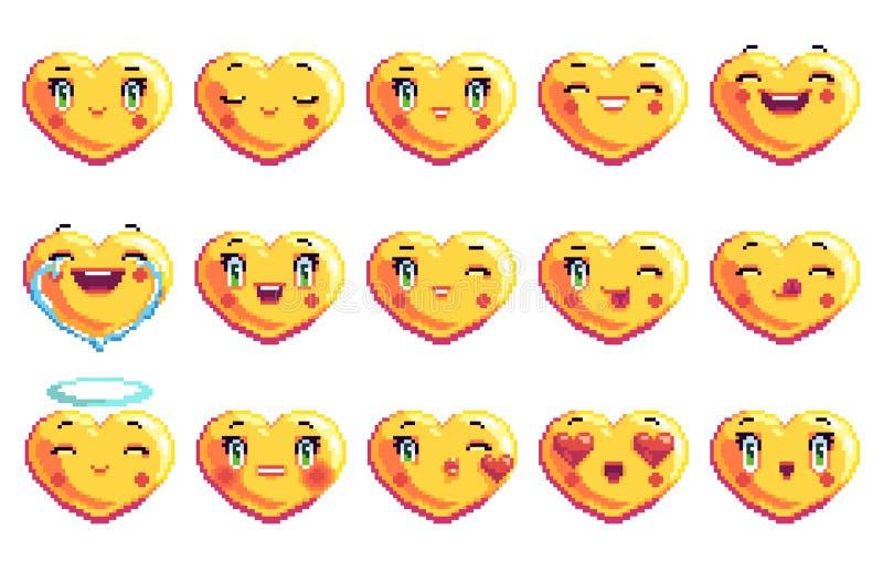 Stellen Sie von 15 positiven Gefühlen ein, die Herz Pixelkunst emoji in der goldenen Farbe formte stockbild