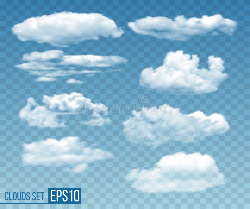 Stellen Sie von realistisches transparentes cloudsin blauem Himmel ein vektor abbildung