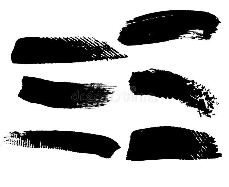Stellen Sie von schwarzen Bürste strockes auf Segeltuch ein stock abbildung