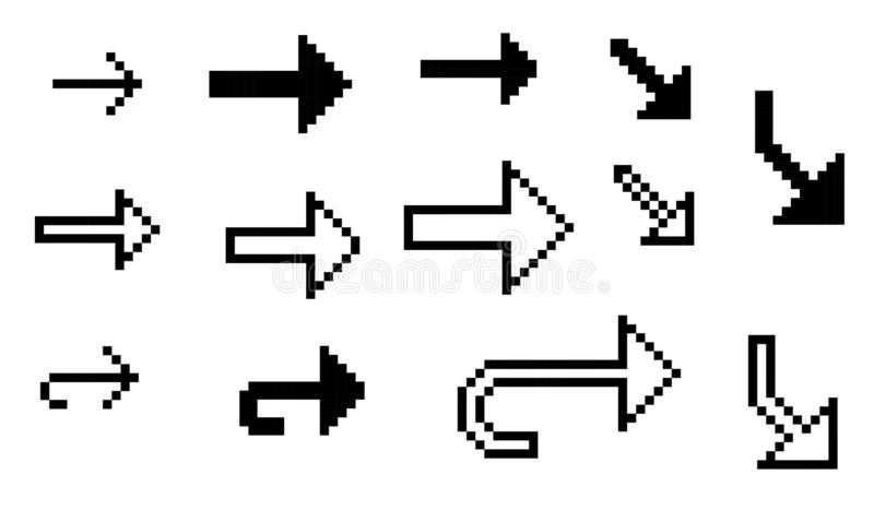 Stellen Sie von 13 schwarzen Vektor pixelart Pfeilen ein stock abbildung