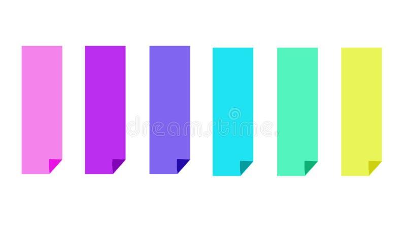Stellen Sie von sechs bunten hellen Fahnen ein stock abbildung