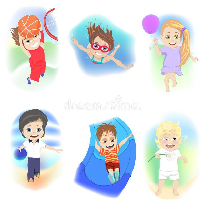 Stellen Sie von sechs Kleinkindern ein, die eine Vielzahl des unterschiedlichen entspannenden Tätigkeitsbowlingspiels, Schwimmen, stock abbildung