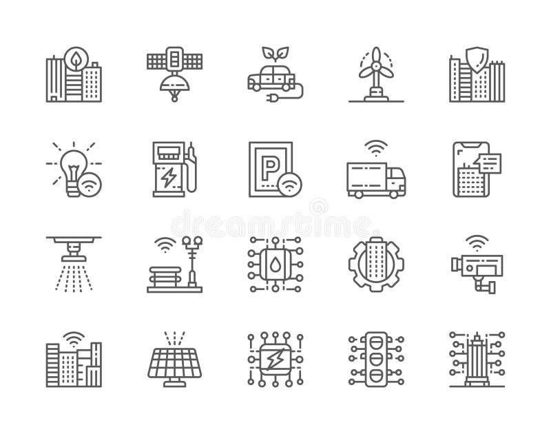 Stellen Sie von Smart City-Linie Ikonen ein Saubere Stadt, Raum-Au?enstelle und mehr stock abbildung