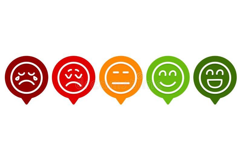 Stellen Sie von Smiley Emotion Ranking ein stock abbildung