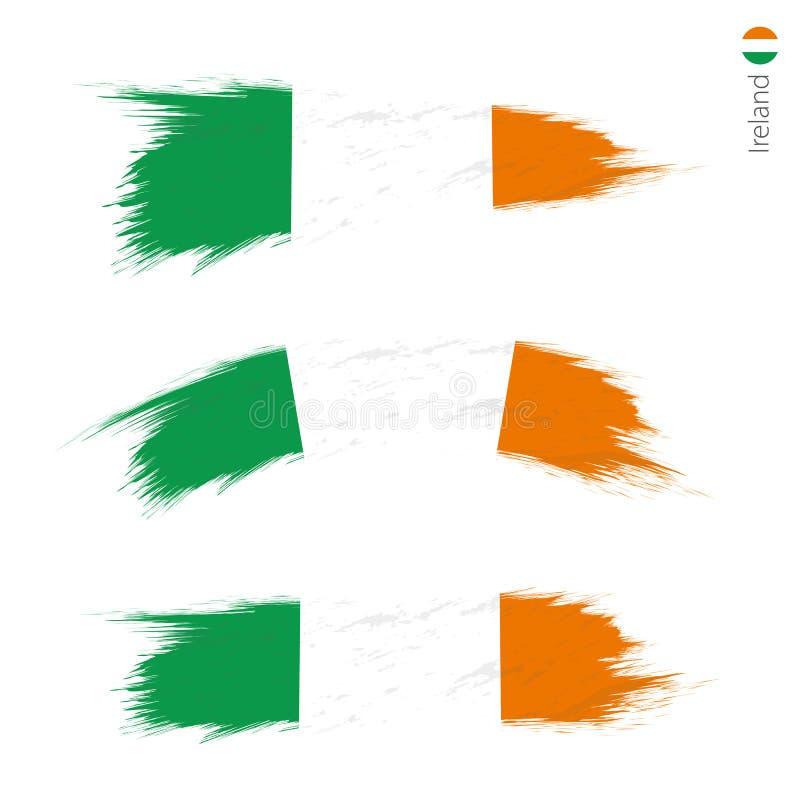 Stellen Sie von strukturierter Flagge des Schmutzes 3 von Irland ein vektor abbildung