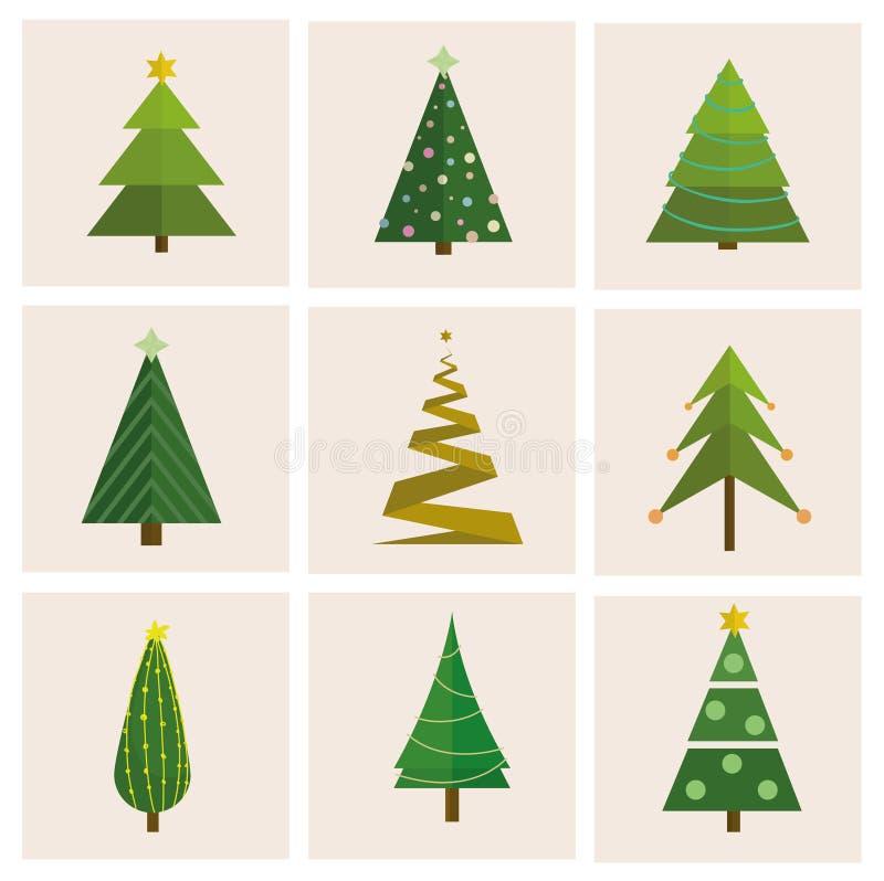 Stellen Sie von unterschiedlichem, Weihnachtsbäume ein Kann für Grußkarte, Einladung, Fahne, Webdesign verwendet werden vektor abbildung