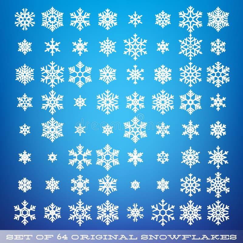 Stellen Sie von 64 ursprünglichen schönen Schneeflocken ein Grafischer Wintergegenstand Weihnachtsschneeikone Schneeflocken-Krist vektor abbildung