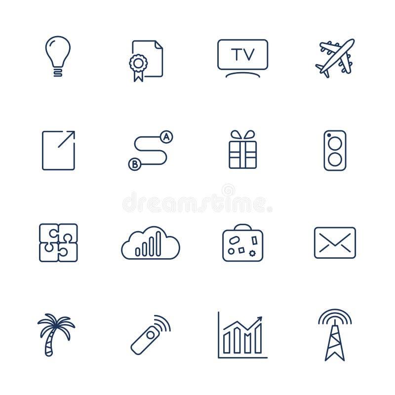 Stellen Sie von 16 Vektorikonen für Software, Anwendung oder Website - Social Media und Technologie ein vektor abbildung