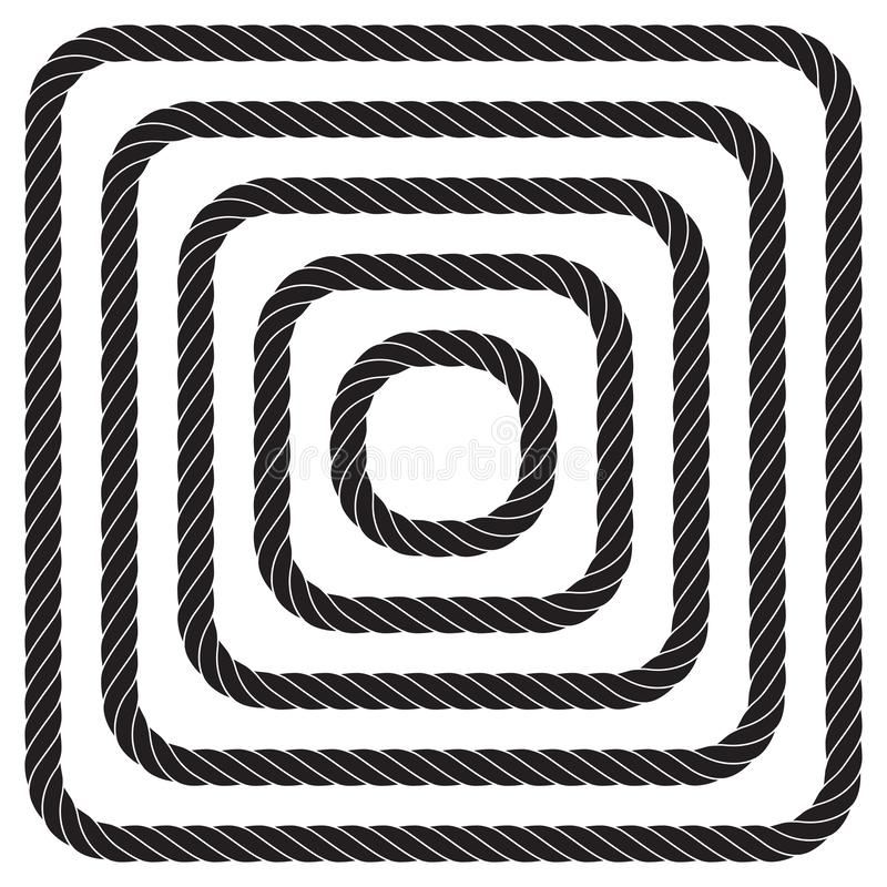 Stellen Sie von verdrehten quadratischen Vektorseilgrenzen oder von Tauwerkrahmen ein stock abbildung