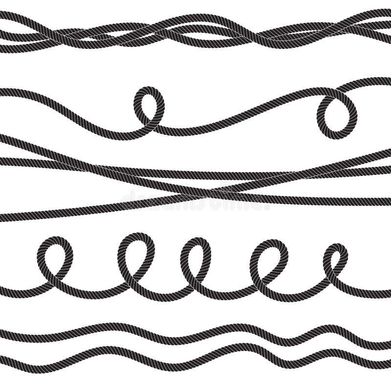 Stellen Sie von verdrehter Vektorseilikone oder -tauwerk mit Schleifen ein lizenzfreie abbildung