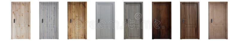 Stellen Sie von verschiedene hölzerne geschlossene Türen lokalisiertem Ausschnitt auf weißem Hintergrund ein Abbildung 3D stock abbildung