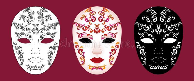 Stellen Sie von 3 verzierte venetianische Karnevalsmasken auf Burgunder-Hintergrund ein vektor abbildung