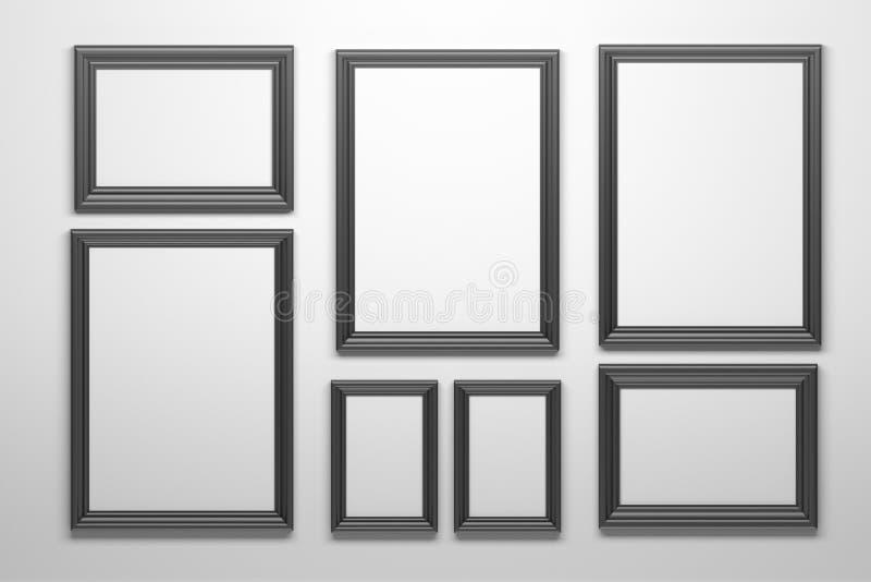 Stellen Sie von vielen schwarzen Rahmen ein stock abbildung