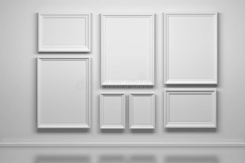 Stellen Sie von vielen weißen Rahmen ein lizenzfreie abbildung