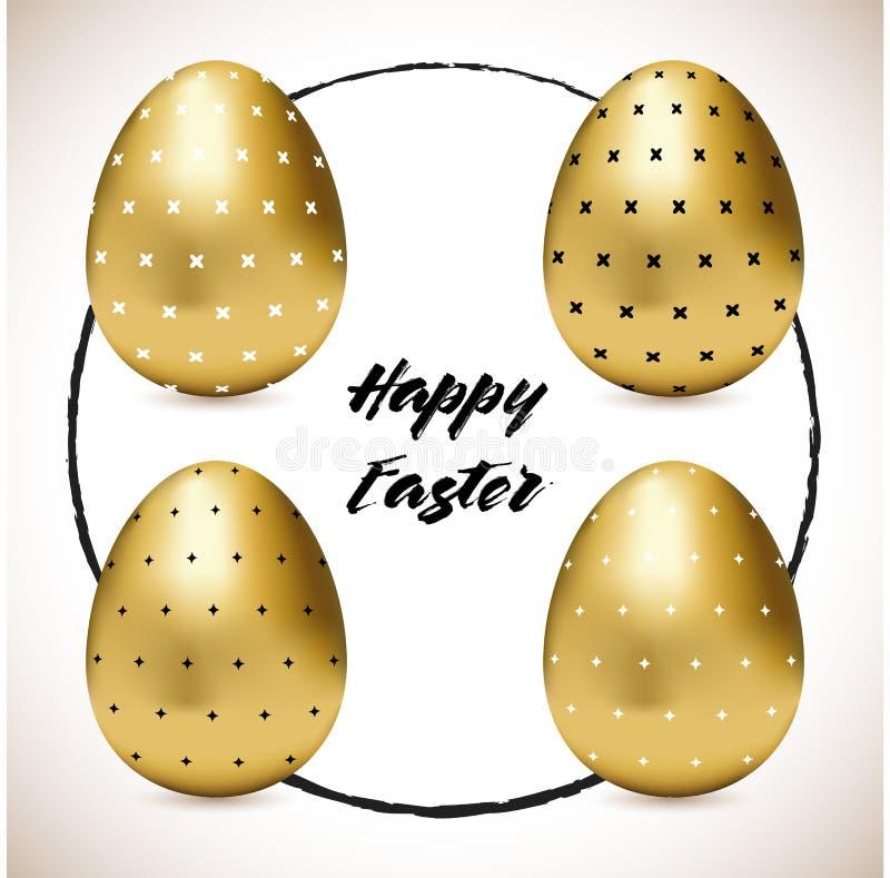 Stellen Sie von vier kopierten goldenen Eiern Ostern ein lizenzfreie abbildung