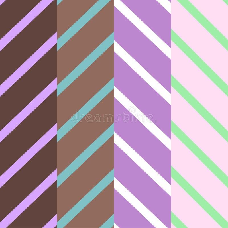 Stellen Sie von vier Mustern mit diagonalen Linien von violetten und braunen Farben ein vektor abbildung