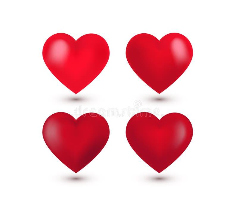Stellen Sie von vier realistischer roter Valentine Hearts, Schatten ein Auch im corel abgehobenen Betrag lizenzfreie abbildung
