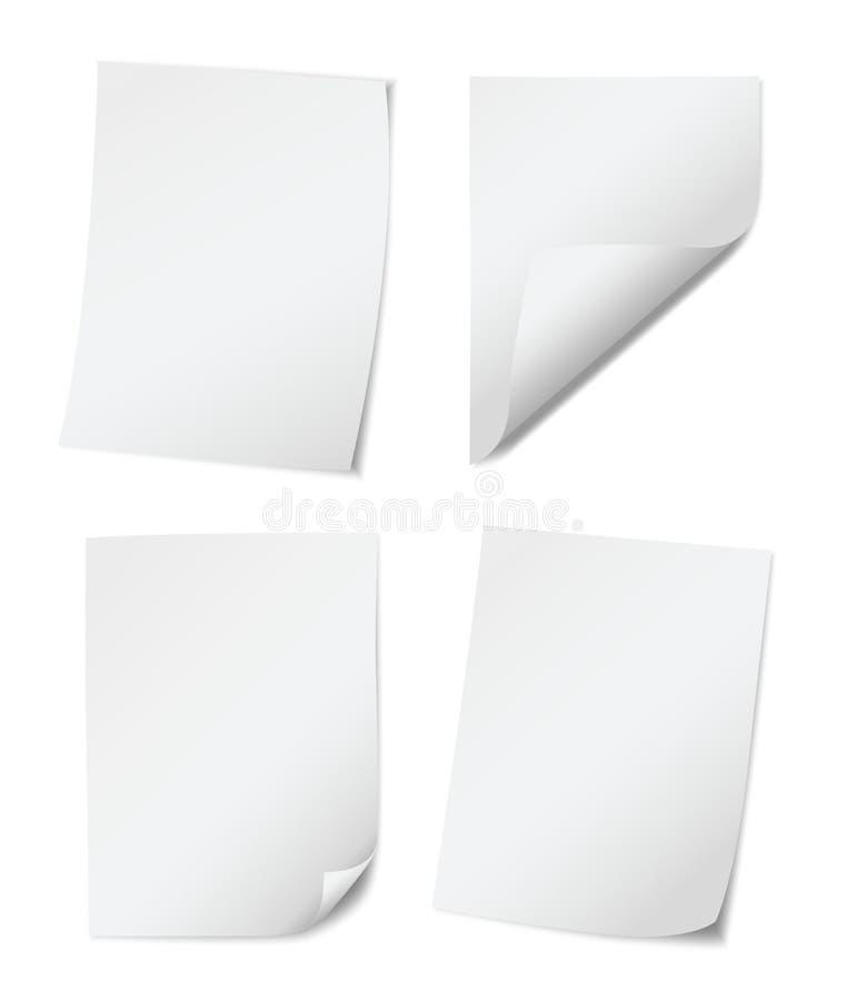 Stellen Sie von vier weißen empy Papierseiten mit gerollten Rändern auf weißem Hintergrund ein vektor abbildung
