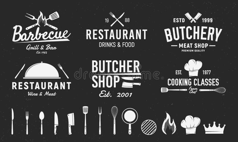 Stellen Sie von 6 Weinleselogos und von 14 Gestaltungselementen für Logo, Emblem ein Restaurantgewerbe Schlächterei, Grill, Resta stock abbildung