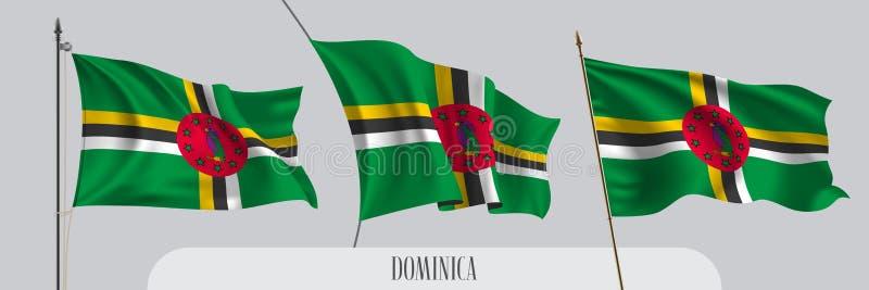 Stellen Sie von wellenartig bewegender Flagge Dominicas auf lokalisierter Hintergrundvektorillustration ein lizenzfreie abbildung
