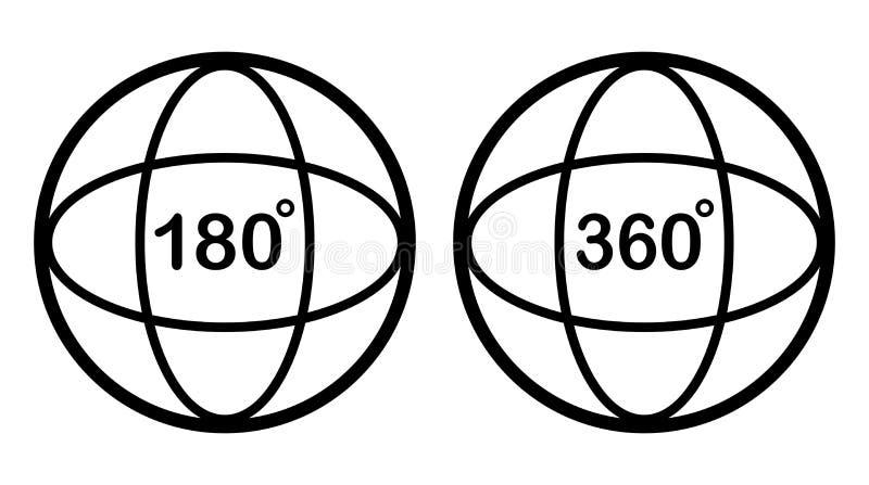 Stellen Sie von Winkel 180, 360-Grad-Ikone ein Auch im corel abgehobenen Betrag stock abbildung