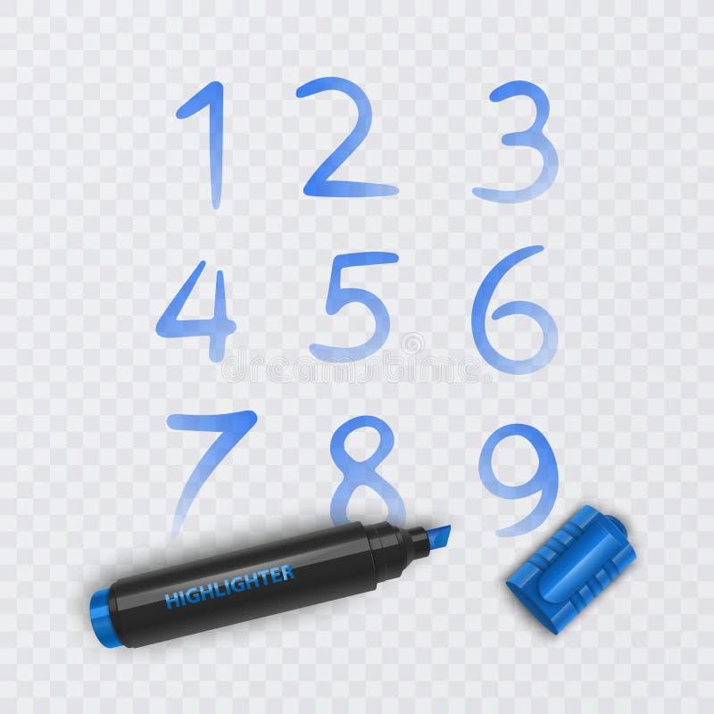Stellen Sie von zehn Zahlen von null bis neun, die Zahlen ein, die mit blauer Markierung, Vektorillustration gezeichnet werden stock abbildung