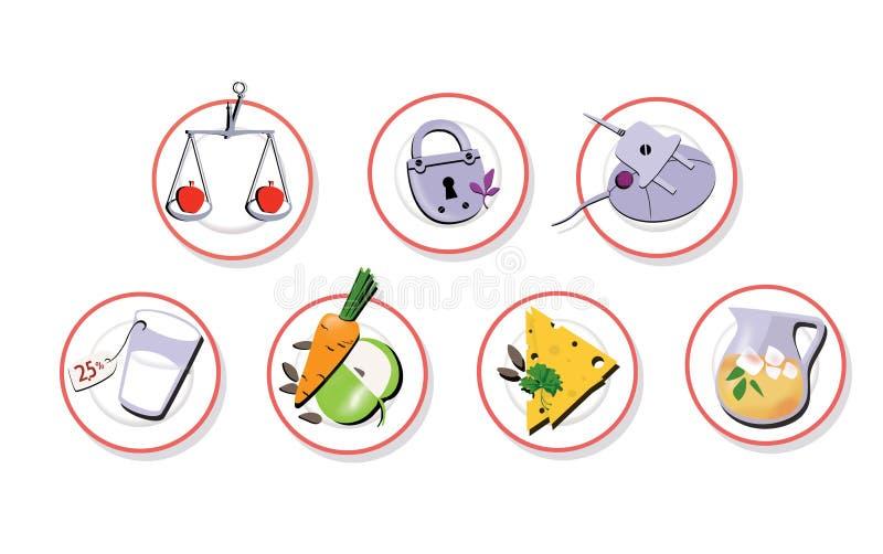 Stellen Sie von 7 Zeichen ein Platten mit Diätnahrung Abnehmen von Systemen Verringerter Appetit und Gewicht Getrennt auf weißem  stock abbildung