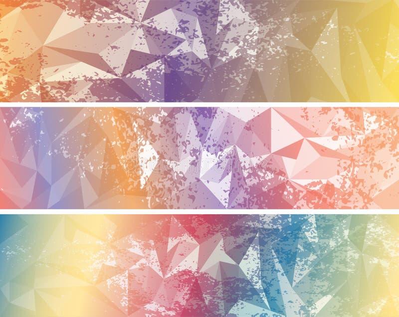 Stellen Sie von Zusammenfassung farbigen triangulierten Fahnen ein stock abbildung