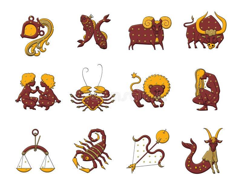 Stellen Sie von zwölf Zeichen des Tierkreises ein Vorhersage der Zukunft Getrennt auf wei?em Hintergrund vektor abbildung