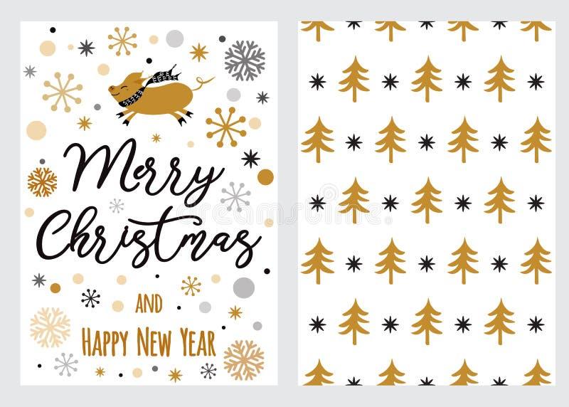 Stellen Sie Weihnachten ein und guten Rutsch ins Neue Jahr wünscht Karten mit handgeschriebener Bürstenkalligraphie und dekorativ stock abbildung