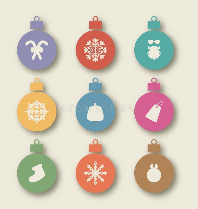 Stellen Sie Weihnachtsbälle mit traditionellen Elementen - Karamellstock, sa ein vektor abbildung