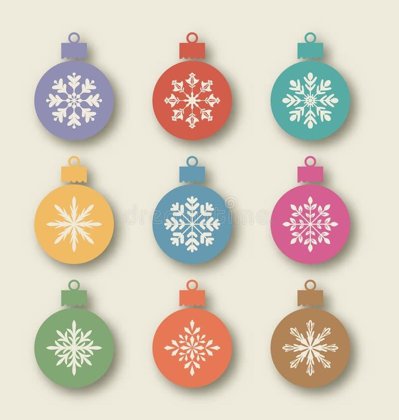 Stellen Sie Weihnachtsbälle mit verschiedenen Schneeflocken, Weinleseart ein stock abbildung