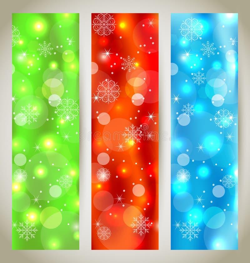 Stellen Sie Weihnachtsglatte Fahnen mit Schneeflocken ein stock abbildung