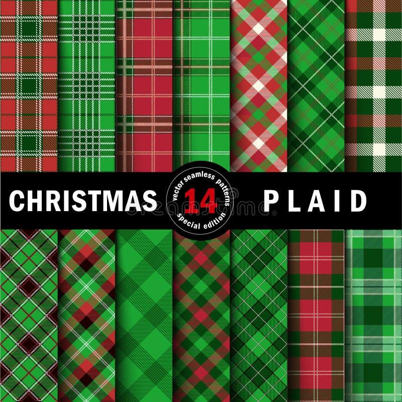 Stellen Sie Weihnachtsschottenstoff-nahtlose Muster ein lizenzfreies stockfoto