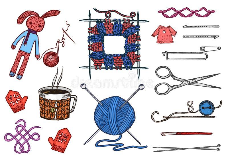 Stellen Sie Werkzeuge für das Stricken oder Häkelarbeit und Materialien oder Elemente für Näharbeit ein Vereinnähen handgemacht f lizenzfreie abbildung