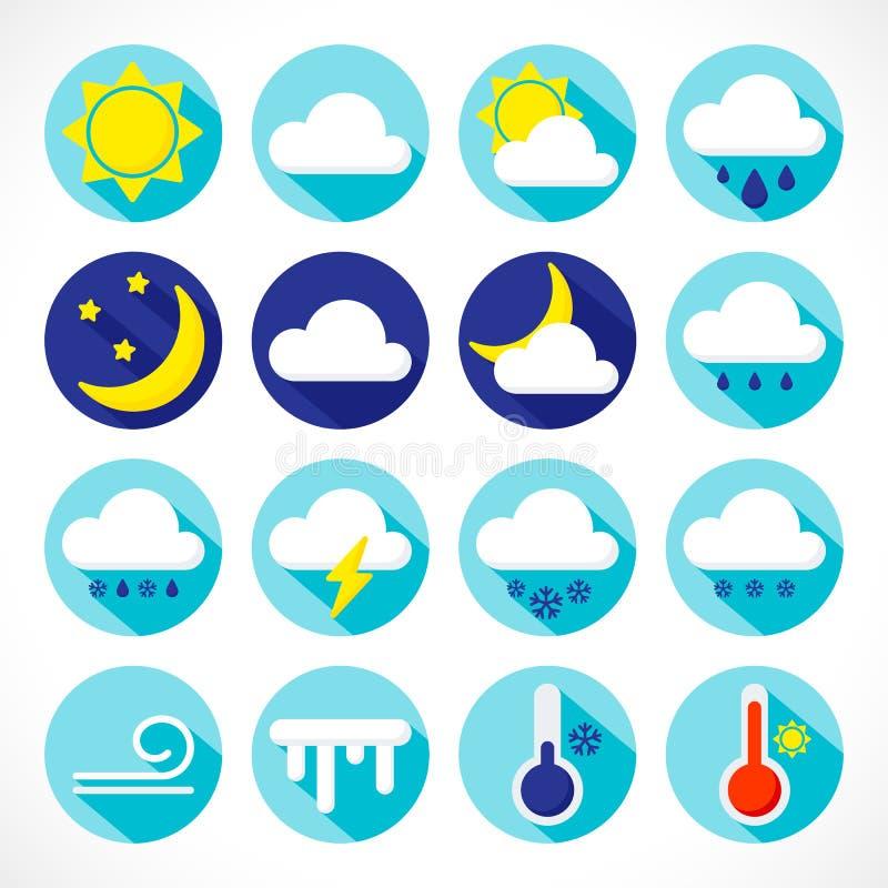 Stellen Sie Wetterikonen ein stock abbildung
