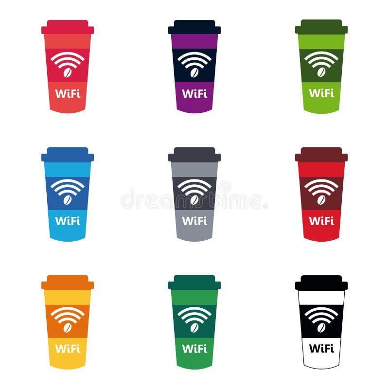 Stellen Sie WiFi-Café-Internet-Caféplakatdesign, Vektorillustration ein vektor abbildung