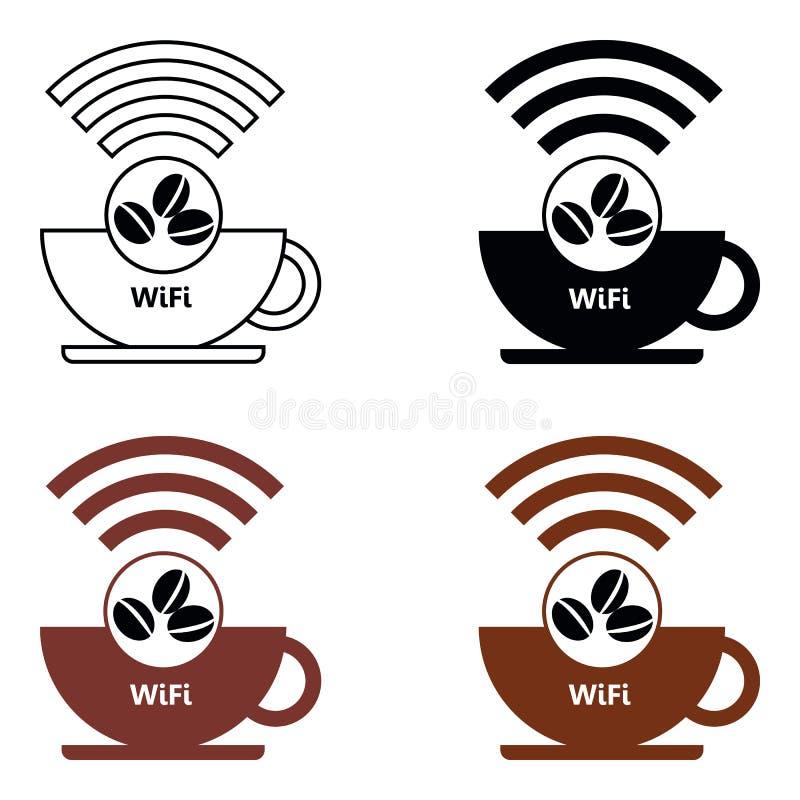 Stellen Sie WiFi-Café-Internet-Caféplakatdesign, Vektorillustration ein lizenzfreie abbildung