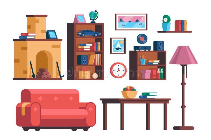 Stellen Sie Wohnzimmerinnenmöbelsammlung ein lizenzfreie abbildung